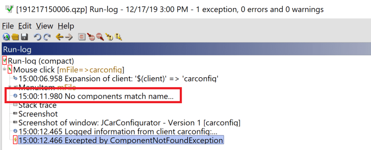 QF-Test ComponentNotFoundException Runlog Message