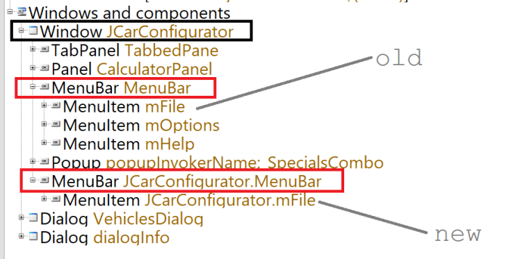 QF-Test ComponentNotFoundException Component Tree Diff